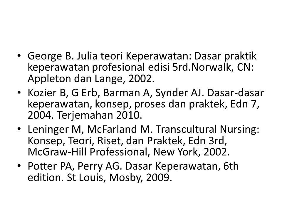 George B. Julia teori Keperawatan: Dasar praktik keperawatan profesional edisi 5rd.Norwalk, CN: Appleton dan Lange, 2002.