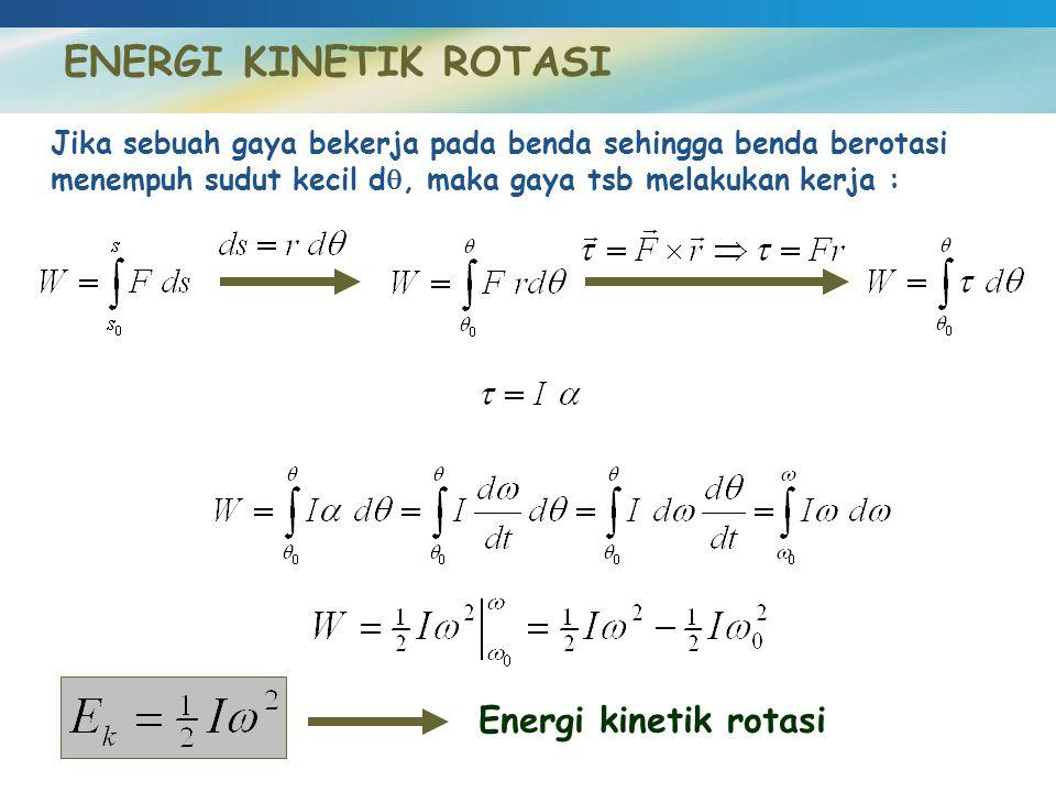 ENERGI KINETIK ROTASI Energi kinetik rotasi