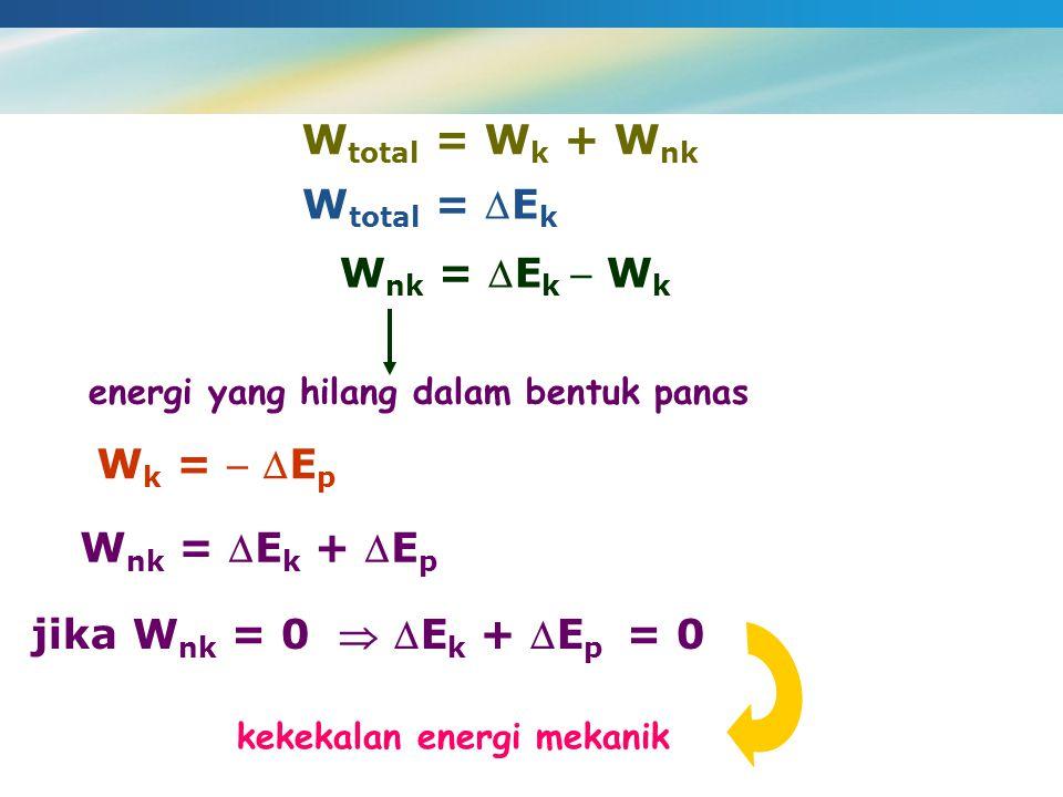 Wtotal = Wk + Wnk Wtotal = Ek Wnk = Ek  Wk Wk =  Ep