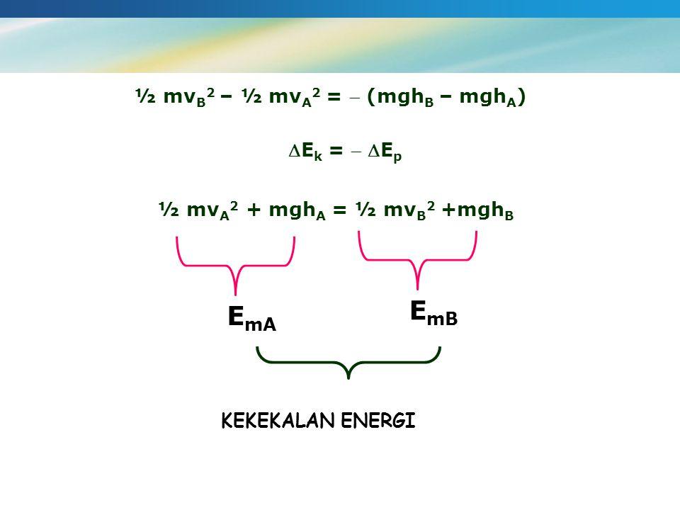 EmB EmA ½ mvB2 – ½ mvA2 =  (mghB – mghA) Ek =  Ep