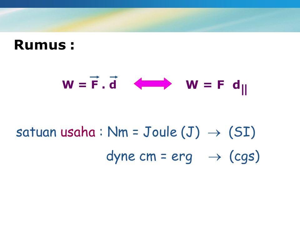 satuan usaha : Nm = Joule (J)  (SI) dyne cm = erg  (cgs)