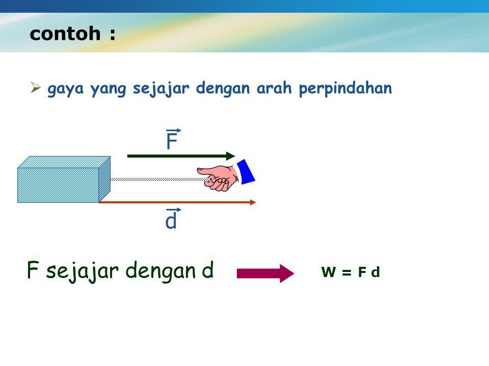 F d F sejajar dengan d contoh :