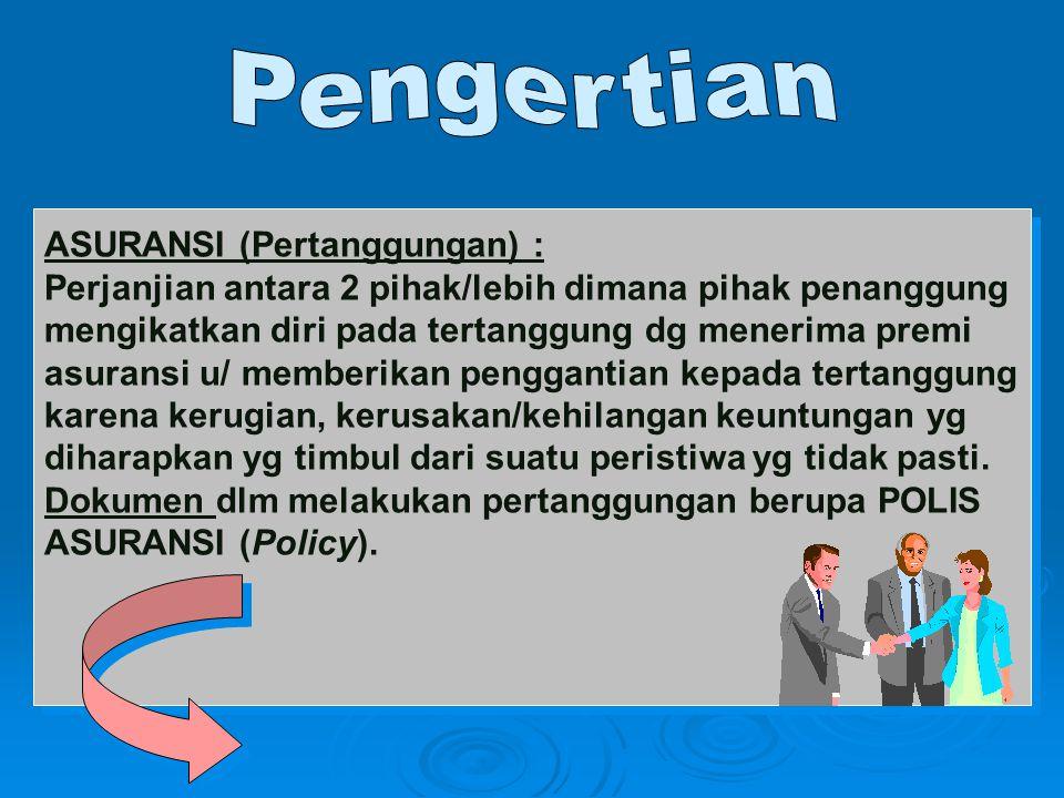 Pengertian ASURANSI (Pertanggungan) : Perjanjian antara 2 pihak/lebih dimana pihak penanggung. mengikatkan diri pada tertanggung dg menerima premi.