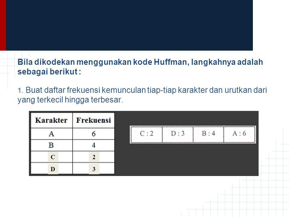 Bila dikodekan menggunakan kode Huffman, langkahnya adalah sebagai berikut :