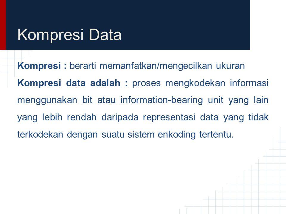 Kompresi Data Kompresi : berarti memanfatkan/mengecilkan ukuran