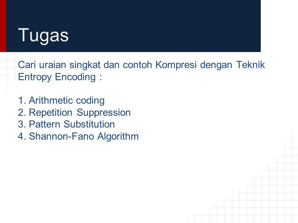 Tugas Cari uraian singkat dan contoh Kompresi dengan Teknik Entropy Encoding : 1. Arithmetic coding.