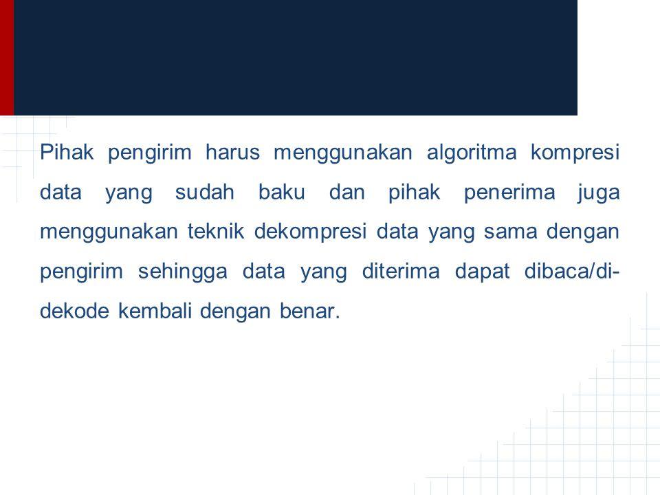 Pihak pengirim harus menggunakan algoritma kompresi data yang sudah baku dan pihak penerima juga menggunakan teknik dekompresi data yang sama dengan pengirim sehingga data yang diterima dapat dibaca/di-dekode kembali dengan benar.