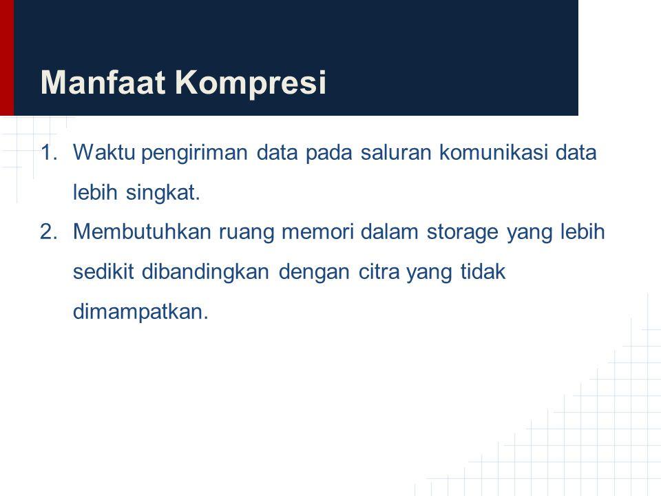 Manfaat Kompresi Waktu pengiriman data pada saluran komunikasi data lebih singkat.