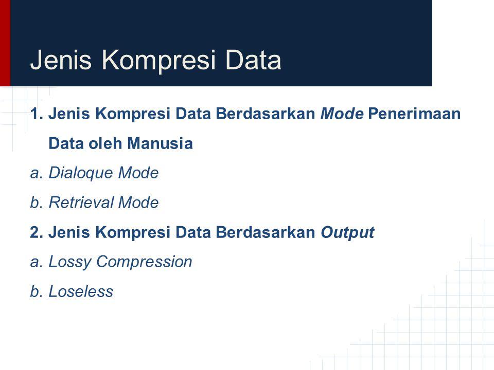 Jenis Kompresi Data Jenis Kompresi Data Berdasarkan Mode Penerimaan Data oleh Manusia. Dialoque Mode.