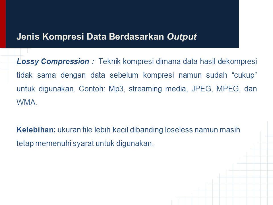 Jenis Kompresi Data Berdasarkan Output