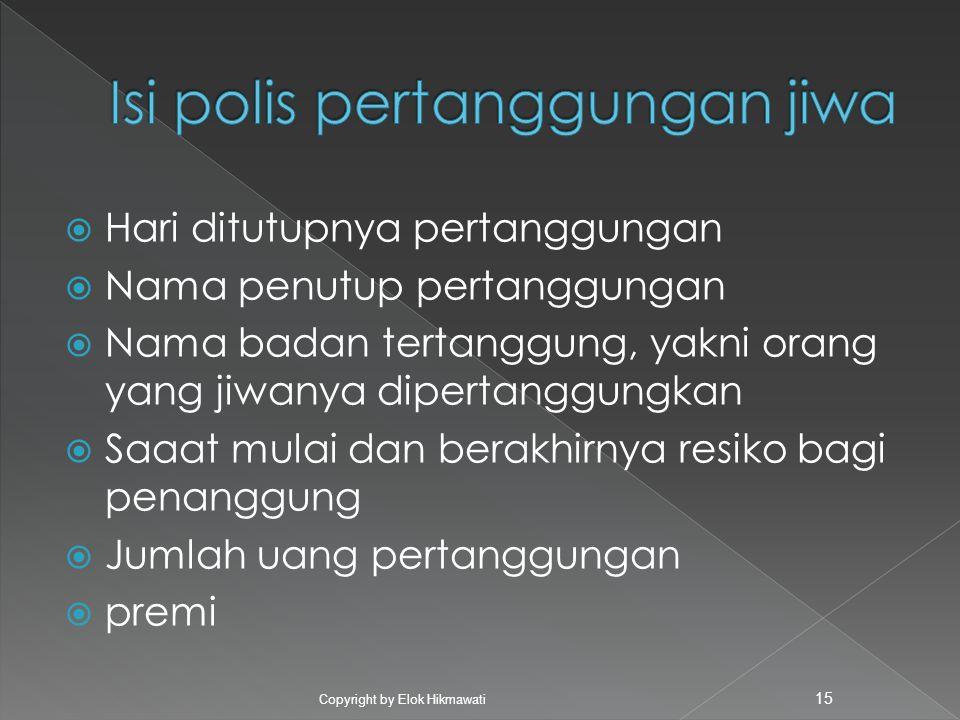 Isi polis pertanggungan jiwa