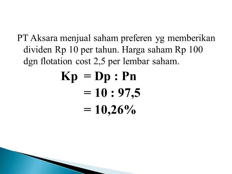 PT Aksara menjual saham preferen yg memberikan dividen Rp 10 per tahun