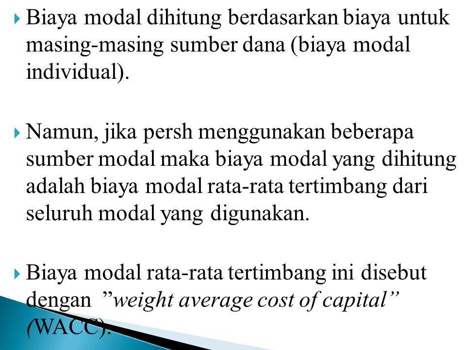Biaya modal dihitung berdasarkan biaya untuk masing-masing sumber dana (biaya modal individual).