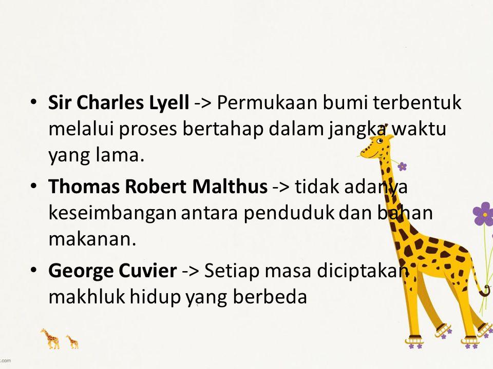 Sir Charles Lyell -> Permukaan bumi terbentuk melalui proses bertahap dalam jangka waktu yang lama.