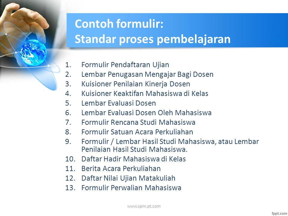 Contoh formulir: Standar proses pembelajaran