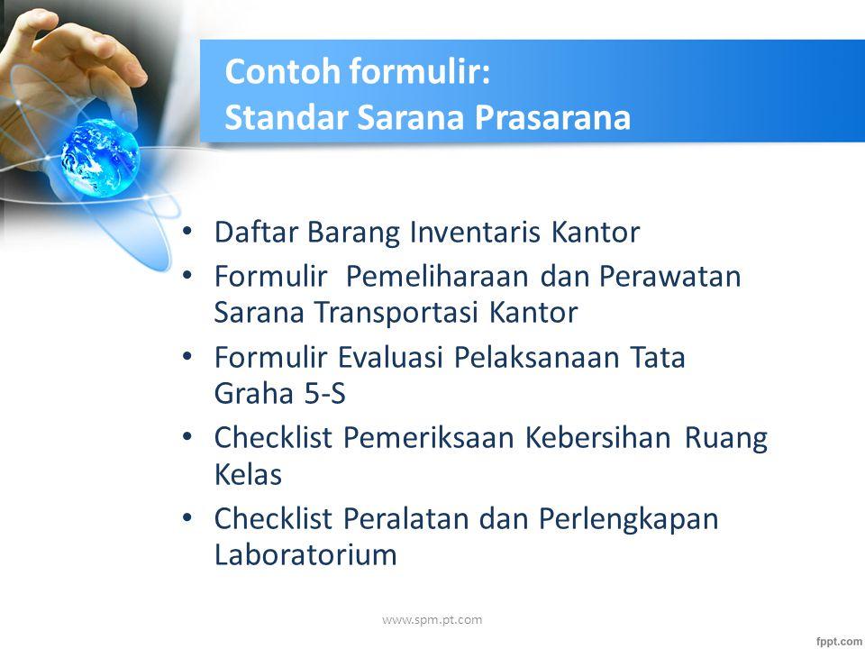 Contoh formulir: Standar Sarana Prasarana