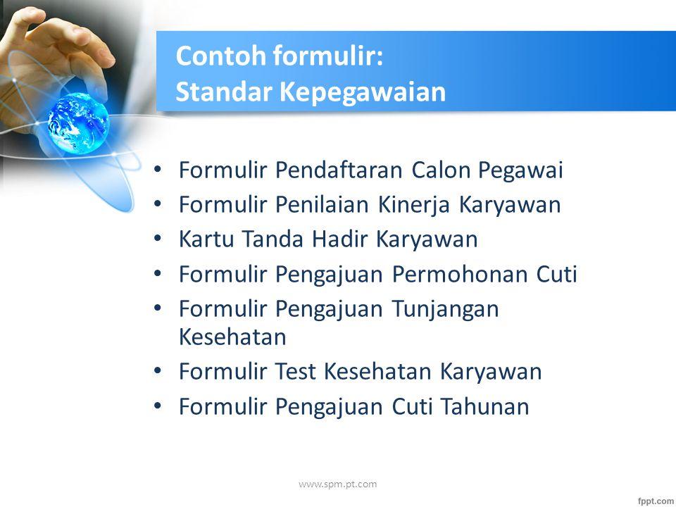 Contoh formulir: Standar Kepegawaian