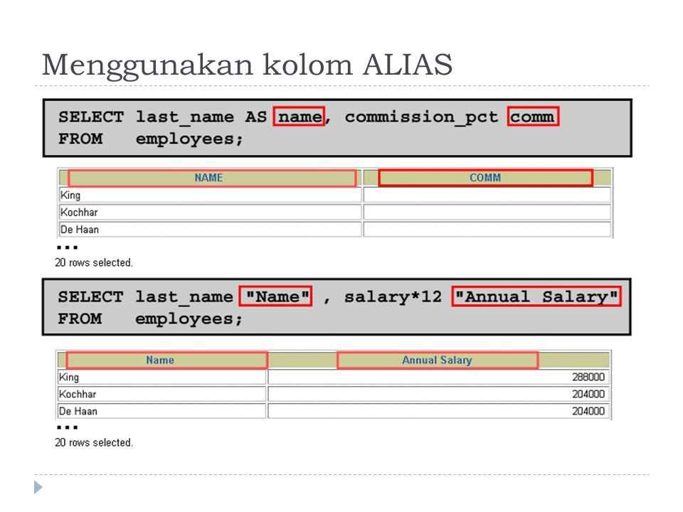 Menggunakan kolom ALIAS