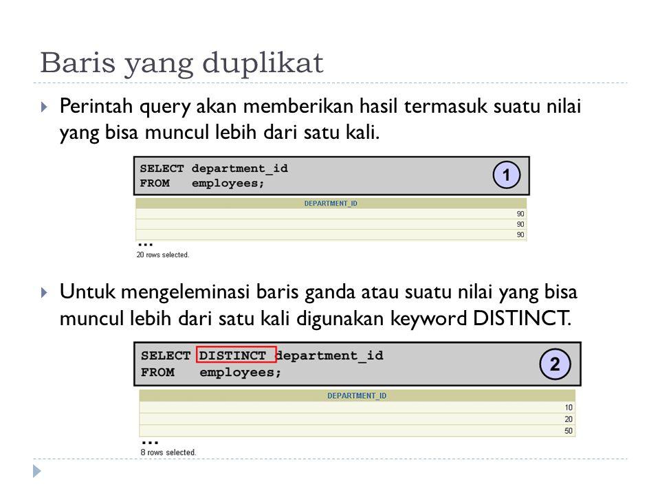 Baris yang duplikat Perintah query akan memberikan hasil termasuk suatu nilai yang bisa muncul lebih dari satu kali.