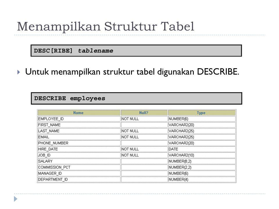 Menampilkan Struktur Tabel