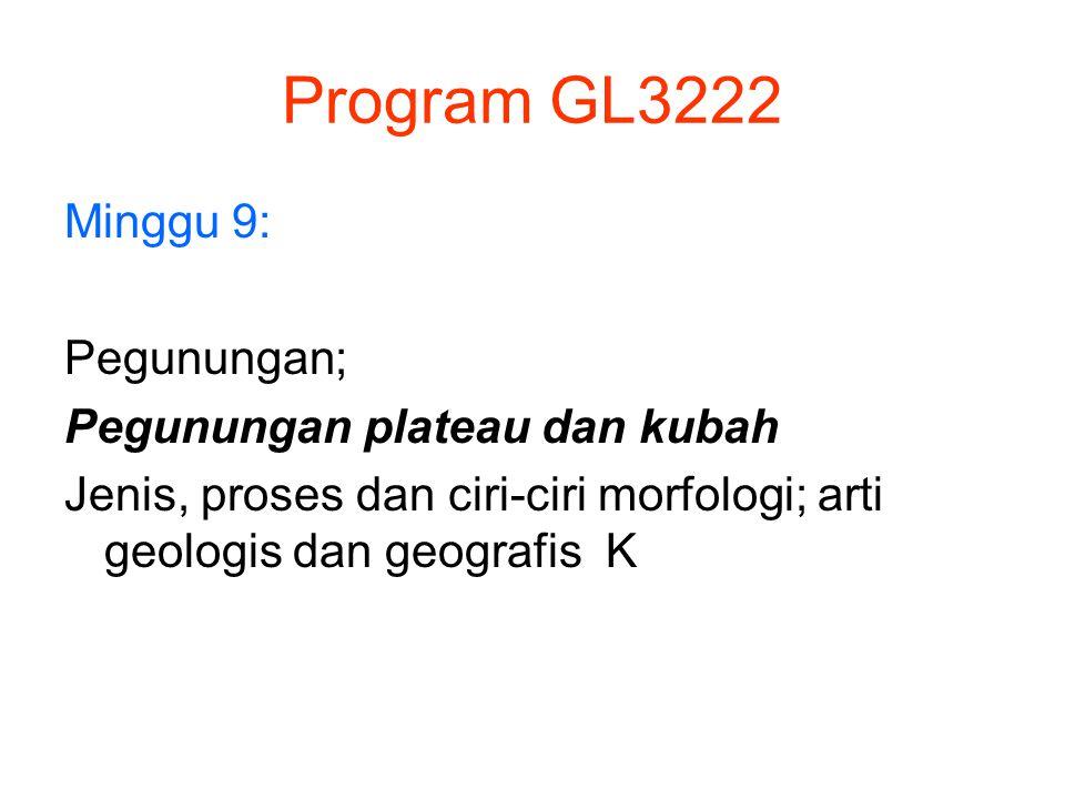 Program GL3222 Minggu 9: Pegunungan; Pegunungan plateau dan kubah