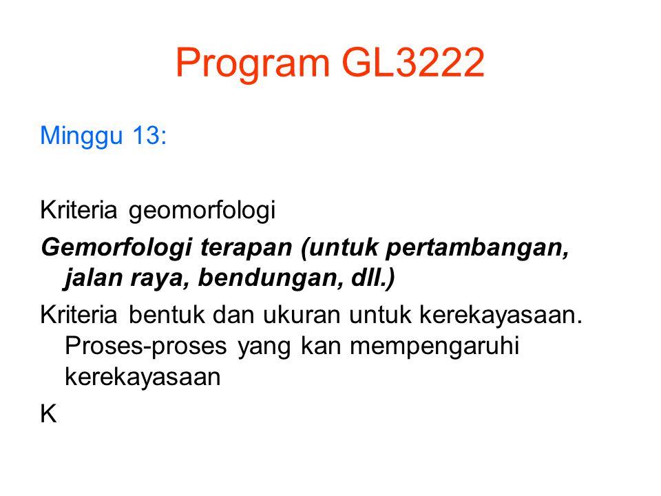 Program GL3222 Minggu 13: Kriteria geomorfologi