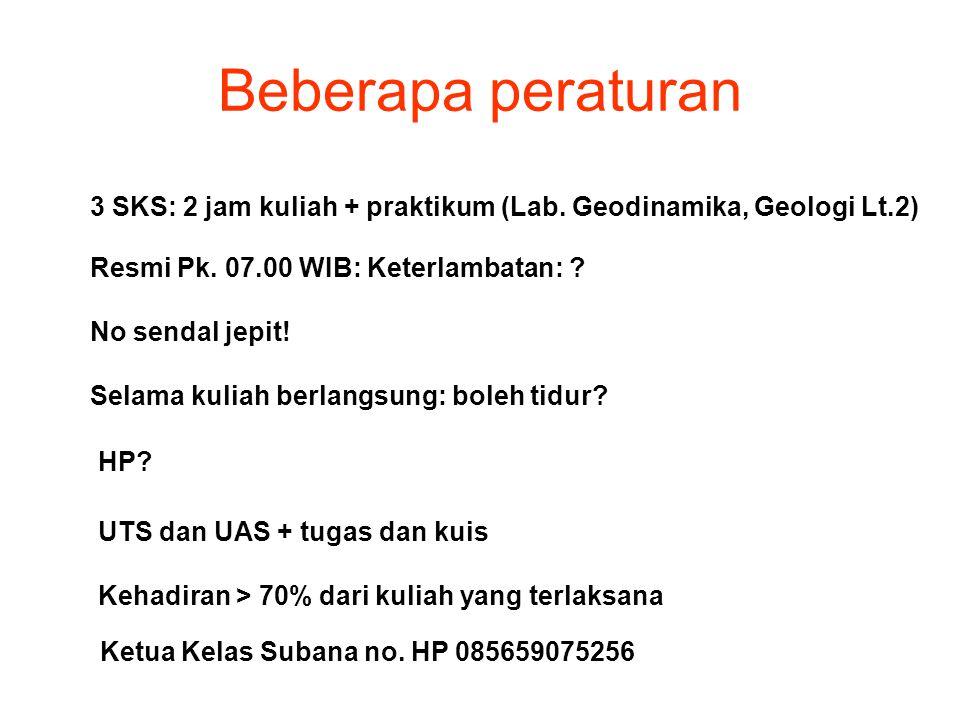 Beberapa peraturan 3 SKS: 2 jam kuliah + praktikum (Lab. Geodinamika, Geologi Lt.2) Resmi Pk. 07.00 WIB: Keterlambatan: