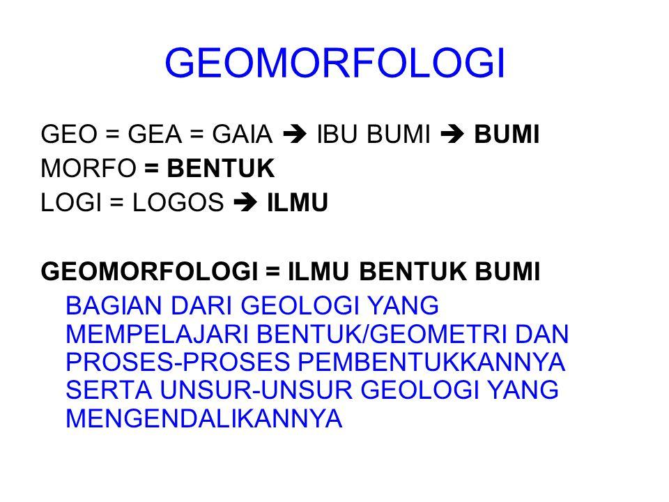 GEOMORFOLOGI GEO = GEA = GAIA  IBU BUMI  BUMI MORFO = BENTUK