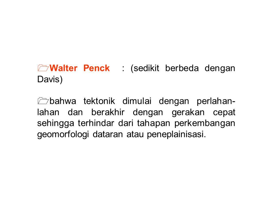 Walter Penck : (sedikit berbeda dengan Davis)