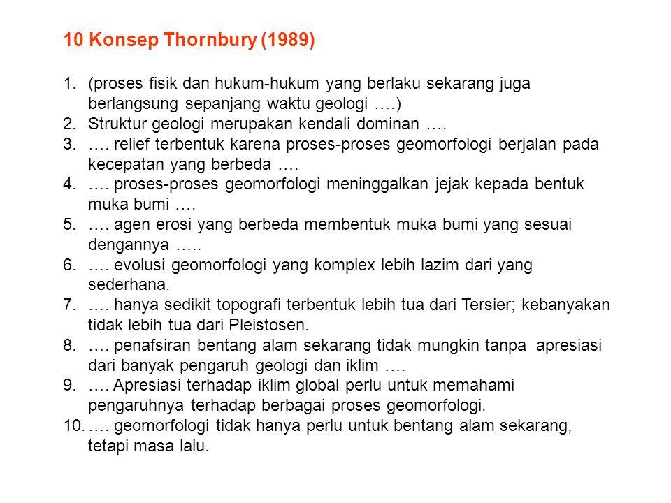 10 Konsep Thornbury (1989) (proses fisik dan hukum-hukum yang berlaku sekarang juga berlangsung sepanjang waktu geologi ….)