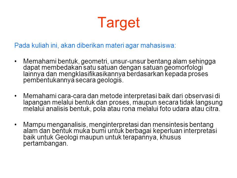 Target Pada kuliah ini, akan diberikan materi agar mahasiswa: