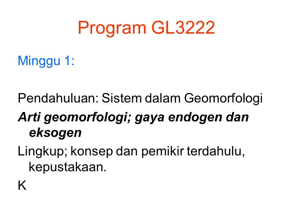 Program GL3222 Minggu 1: Pendahuluan: Sistem dalam Geomorfologi