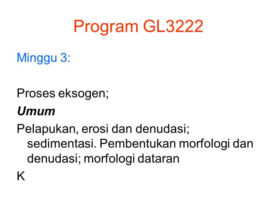 Program GL3222 Minggu 3: Proses eksogen; Umum