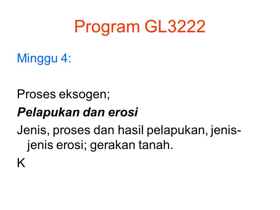 Program GL3222 Minggu 4: Proses eksogen; Pelapukan dan erosi