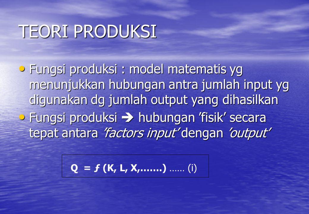 TEORI PRODUKSI Fungsi produksi : model matematis yg menunjukkan hubungan antra jumlah input yg digunakan dg jumlah output yang dihasilkan.