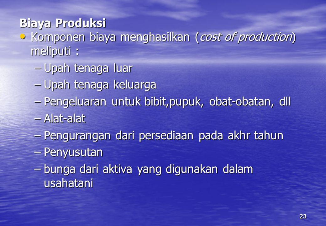 Biaya Produksi Komponen biaya menghasilkan (cost of production) meliputi : Upah tenaga luar. Upah tenaga keluarga.