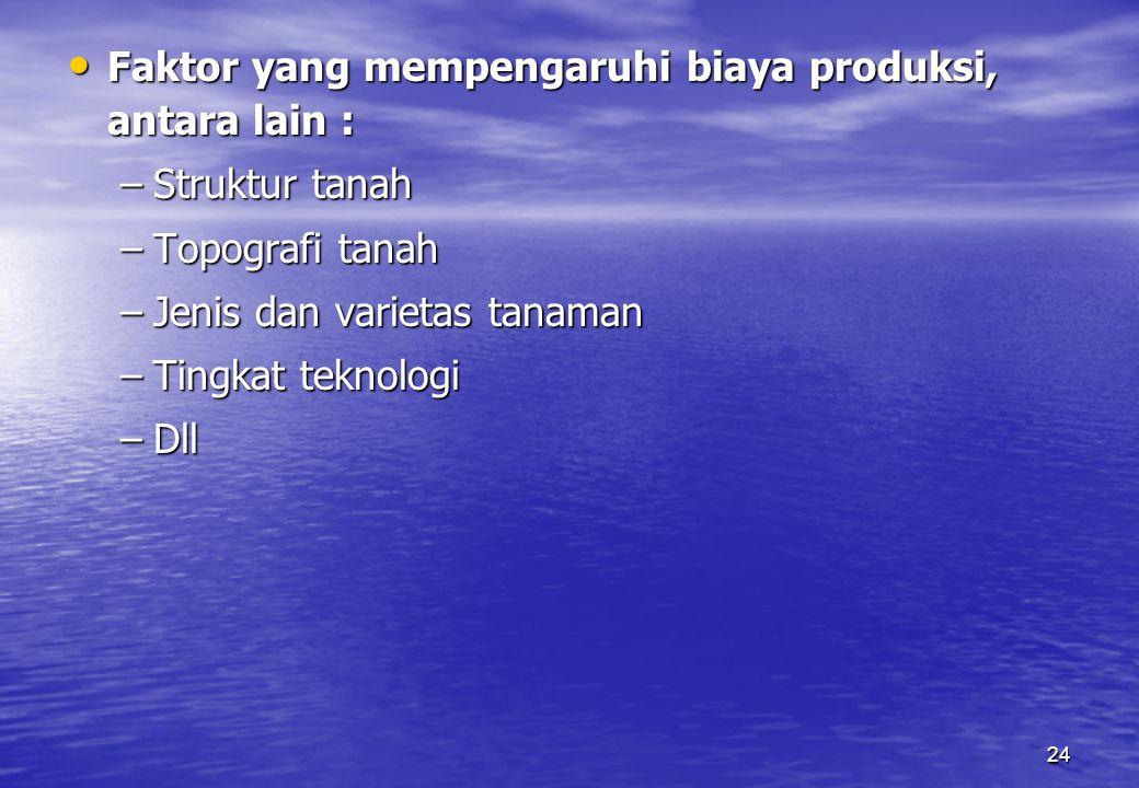 Faktor yang mempengaruhi biaya produksi, antara lain :