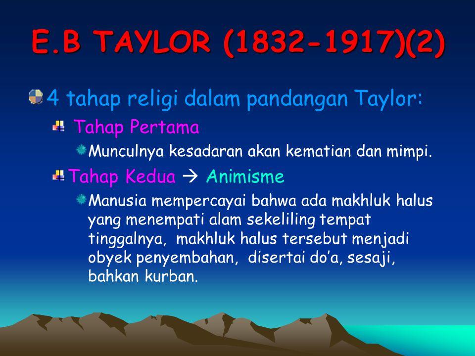 E.B TAYLOR (1832-1917)(2) 4 tahap religi dalam pandangan Taylor: