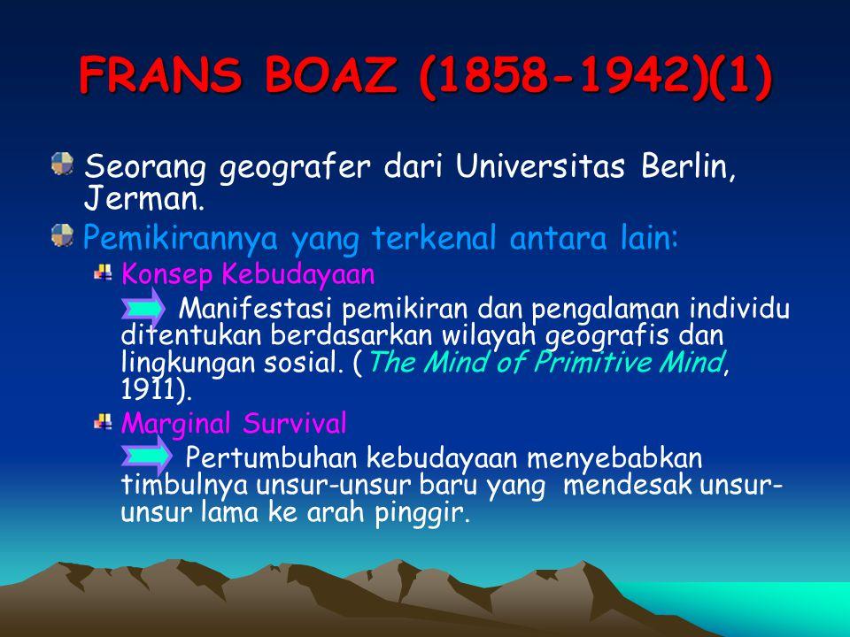 FRANS BOAZ (1858-1942)(1) Seorang geografer dari Universitas Berlin, Jerman. Pemikirannya yang terkenal antara lain: