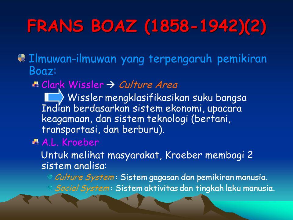 FRANS BOAZ (1858-1942)(2) Ilmuwan-ilmuwan yang terpengaruh pemikiran Boaz: Clark Wissler  Culture Area.