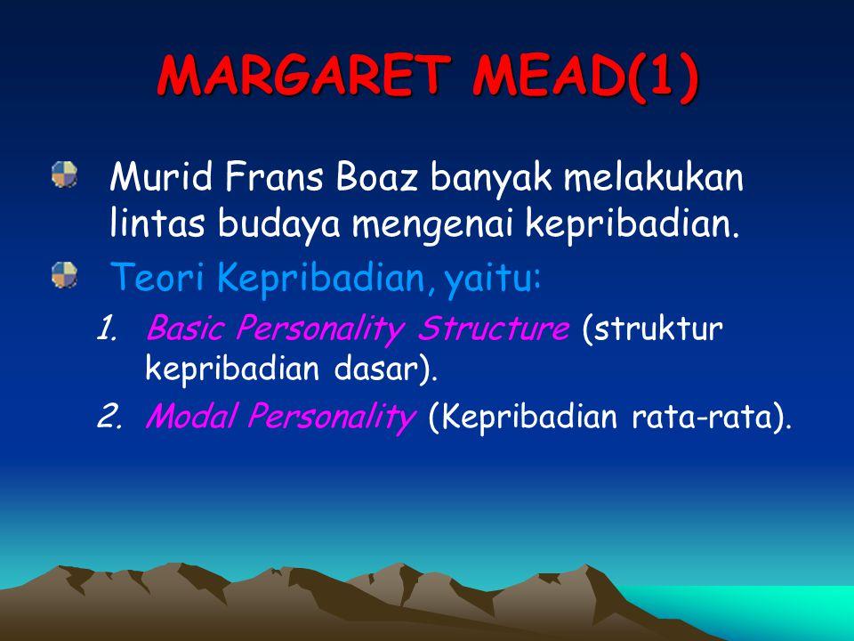 MARGARET MEAD(1) Murid Frans Boaz banyak melakukan lintas budaya mengenai kepribadian. Teori Kepribadian, yaitu: