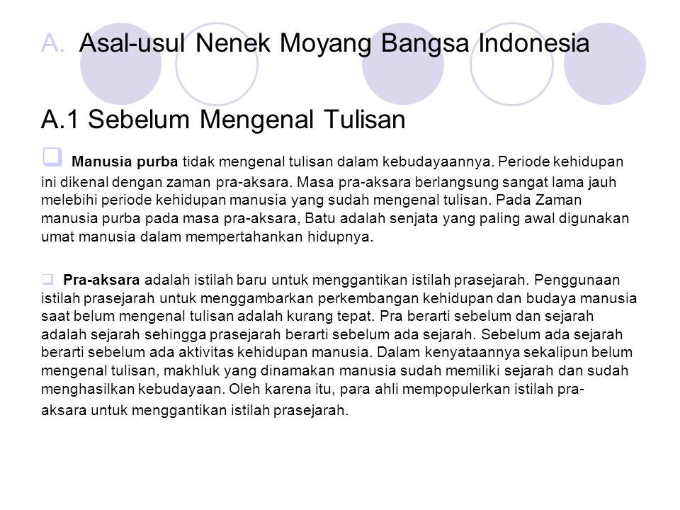 Asal-usul Nenek Moyang Bangsa Indonesia A.1 Sebelum Mengenal Tulisan