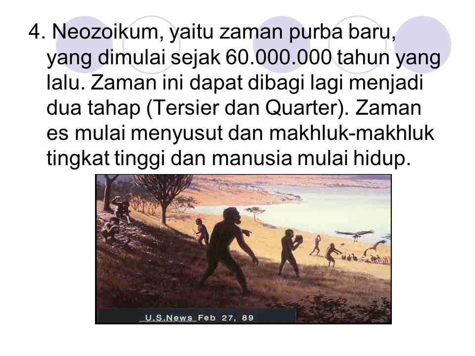 4. Neozoikum, yaitu zaman purba baru, yang dimulai sejak 60. 000