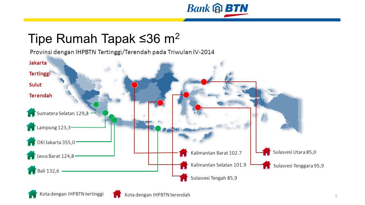 Tipe Rumah Tapak ≤36 m2 Kalimantan Barat 102.7. Kalimantan Selatan 101.9. Sulawesi Tenggara 95,9.