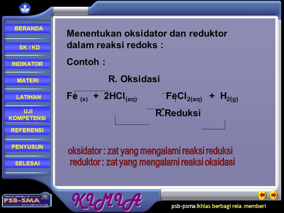 Menentukan oksidator dan reduktor dalam reaksi redoks : Contoh :