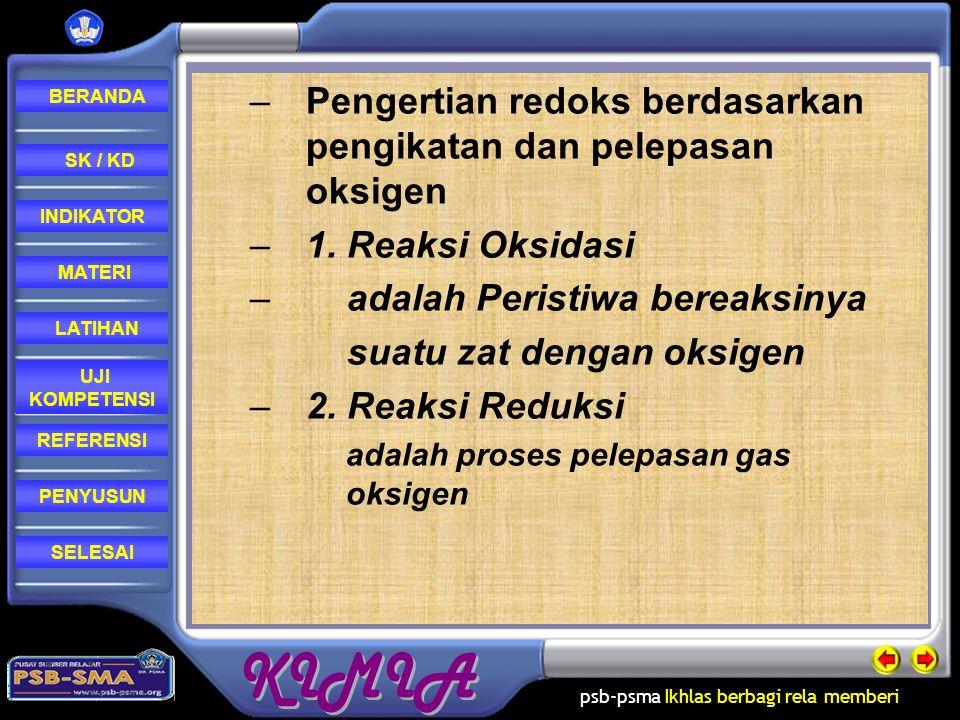 Pengertian redoks berdasarkan pengikatan dan pelepasan oksigen