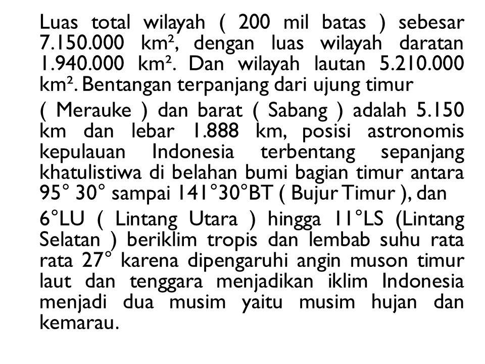 Luas total wilayah ( 200 mil batas ) sebesar 7. 150