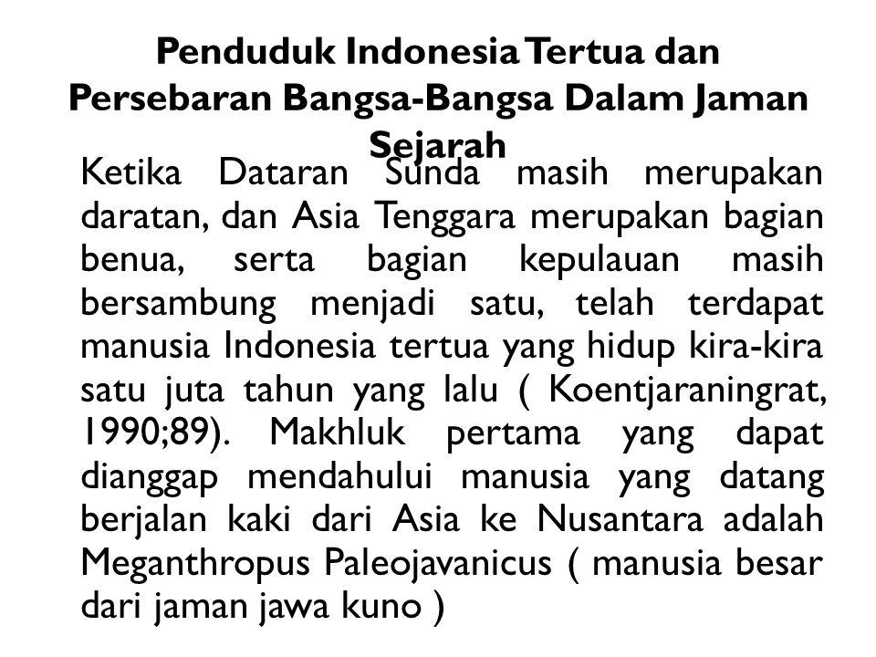 Penduduk Indonesia Tertua dan Persebaran Bangsa-Bangsa Dalam Jaman Sejarah