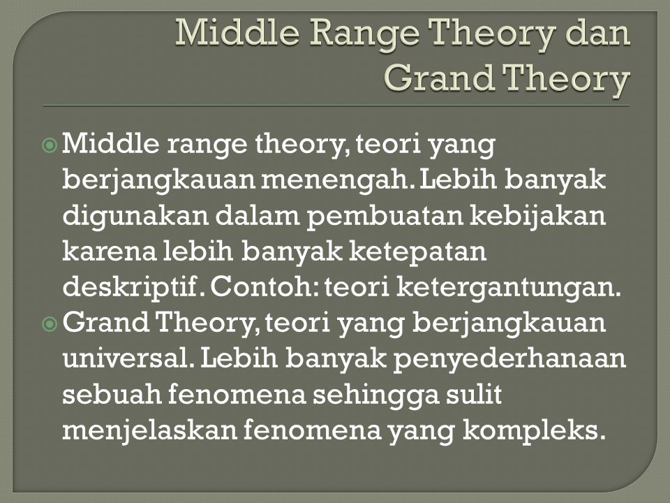 Middle Range Theory dan Grand Theory