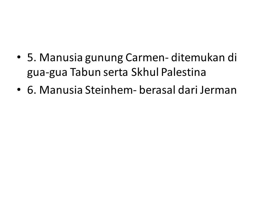 5. Manusia gunung Carmen- ditemukan di gua-gua Tabun serta Skhul Palestina